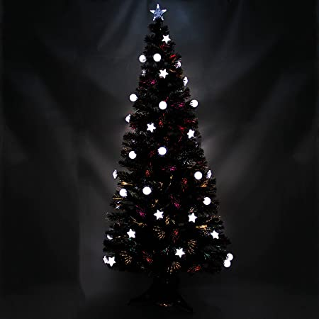 Fibre Optic Christmas Tree With Baubles.Werchristmas 7 Ft Black Pre Lit Multi Colour Fibre Optic Christmas Tree With 44 Led White Stars Baubles And Topper