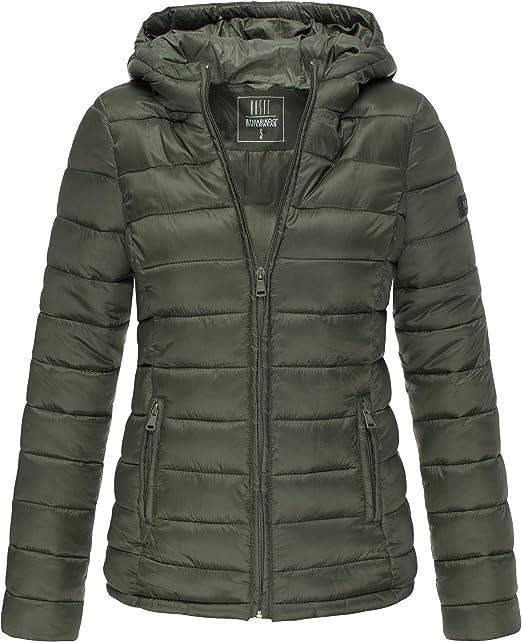 Marikoo Damen Übergangs Steppjacke Herbst Winter Jacke mit Kapuze 10 Farben XS XXL Lucy