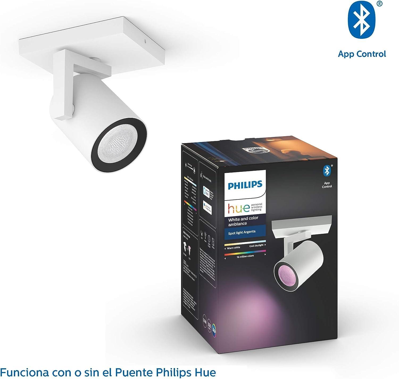 Philips Hue Plafón Argenta 1 Foco LED Inteligente GU10, 5.7 W ...