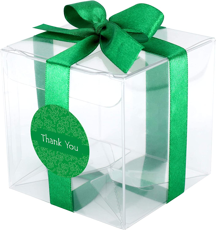 Gechtas 20Pcs PET Crystal Clear Cube Gift Boxes, 3