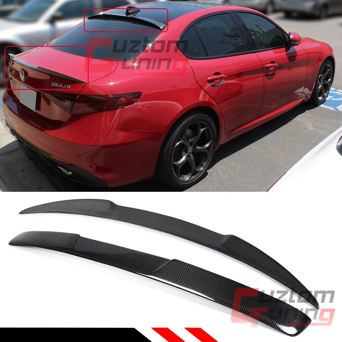 Cuztom Tuning Fits for 2017-22020 Alfa Romeo Giulia Carbon Fiber Rear Window Roof Spoiler + VQ Style Trunk Lid Spoiler