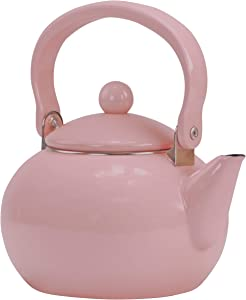 Reston Lloyd Enamel Teakettle Non-Whistling, 2 Quart, Pink