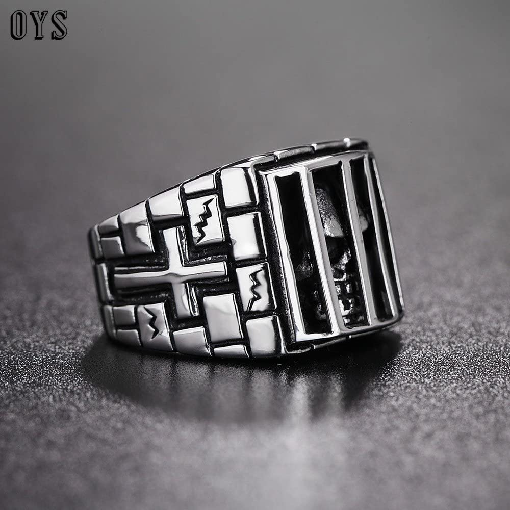 Uezenu Herren Edelstahl Gothic Skull Ring Gef/ängnis Ghost Cross Ringe