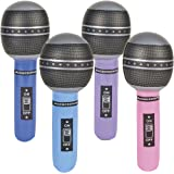 Microphone Inflate, assorted colors, Pack of 12