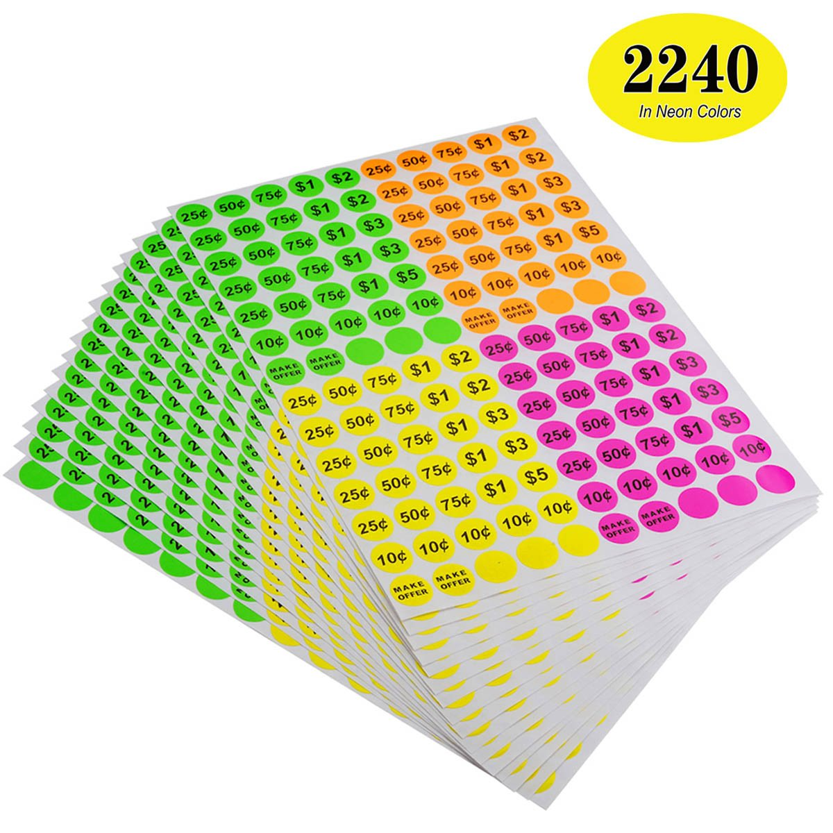 Bright Neon Fluorescent Multicolored with Blank Label ONUPGO Garage Sale Labels 3//4 Round Preprinted Pricing Labels Price Stickers Removable Prices Labels Pack of 2240