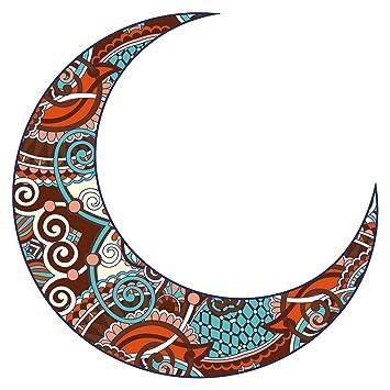 Pegatina de pared Este Luna creciente con adornos de colores muro ...