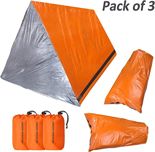 KOMEX 2 Emergency Sleeping Bag with 1 Shelter Survival Tent 2-4 Person Mylar Emergency Tube Tent Lightweight Waterproof Thermal Emergency Blanket for Camping Hiking