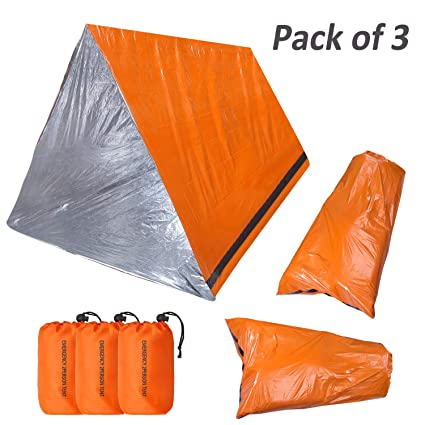 quality design 6017d 90e4b KOMEX Emergency Sleeping Bag with Shelter Survival Tent 2-4 Person Mylar  Emergency Tube Tent Lightweight Waterproof Thermal Emergency Blanket for ...