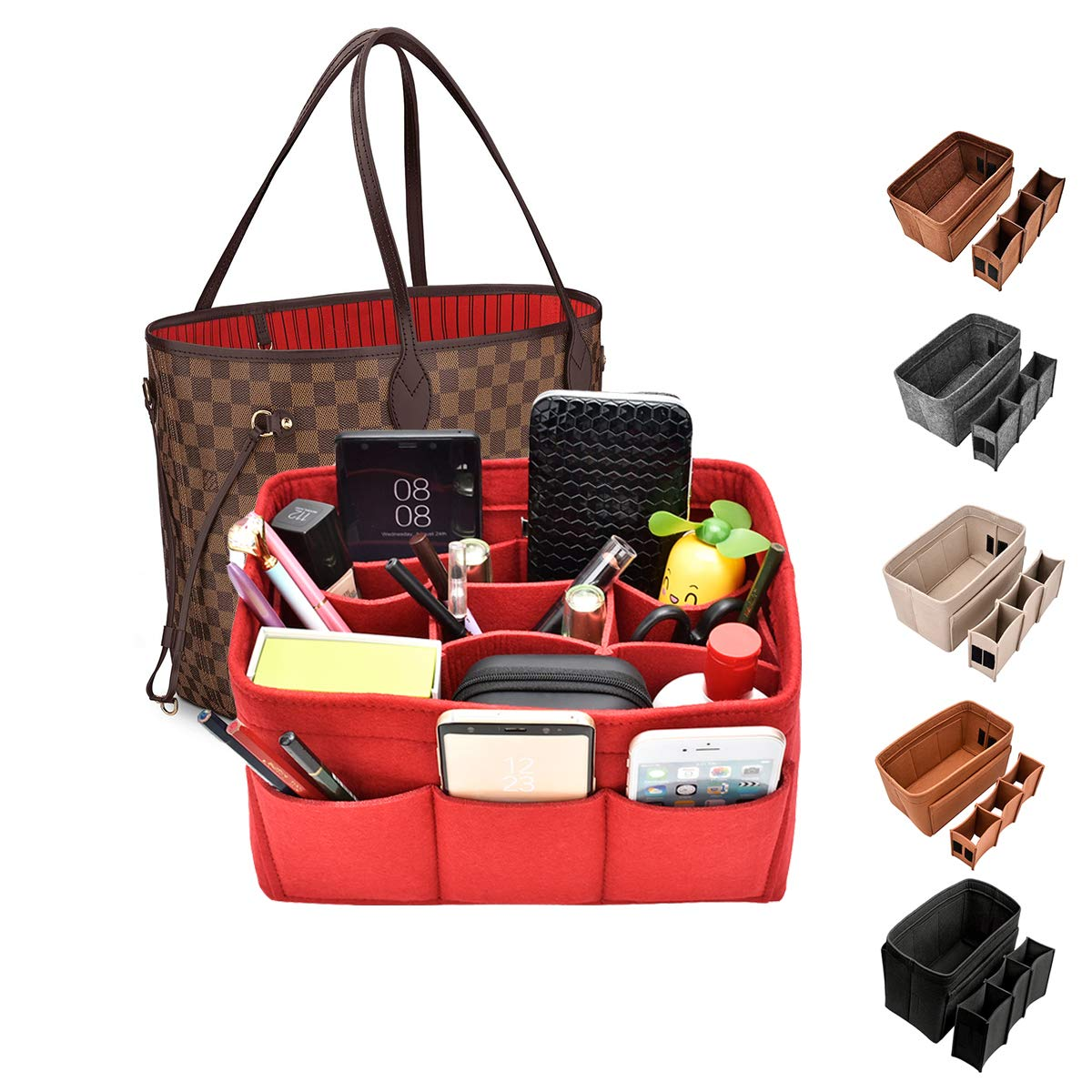 Kumako Bag Organizer,Felt Purse Insert Handbag Organizer For LV neverful,Speedy&Tote Bag (M, Red)