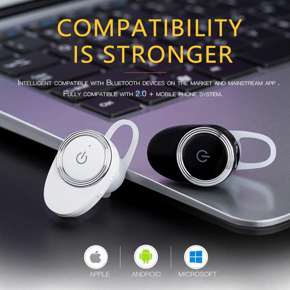 Auriculares invisibles E6 Mini auriculares inalámbricos auriculares con cancelación de ruido para iPhone, Samsung y teléfono celular universal (Negro): ...