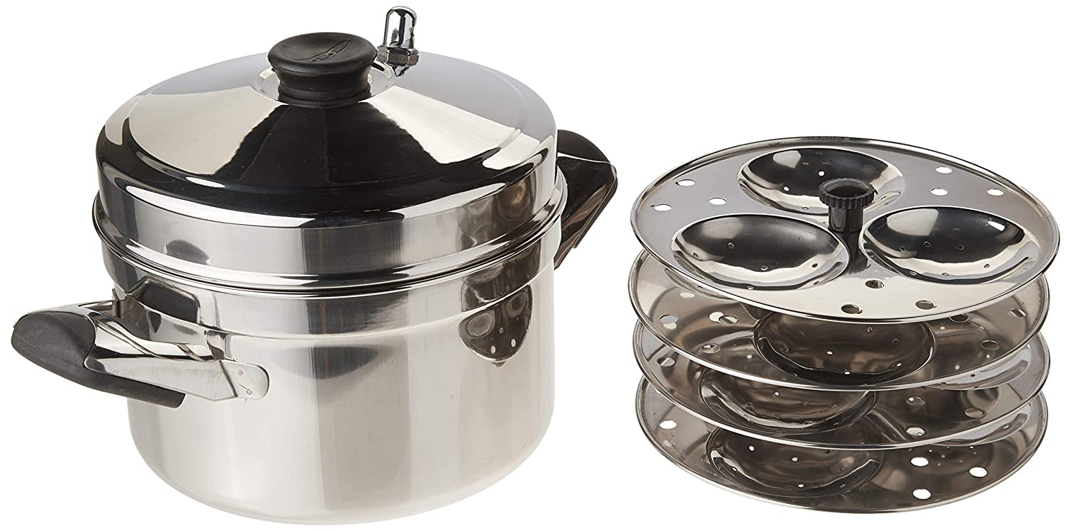 Tabakh HIC-204 4-Rack Stainless Steel Idli Cooker w/ Hawkins Type Stand, Makes 12 Idlis
