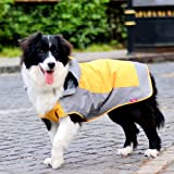 Umora 犬用レインコート カッパ 雨具 通気 帽子付 散歩用 小型犬 中型犬 大型犬(オレンジ+グレー M)