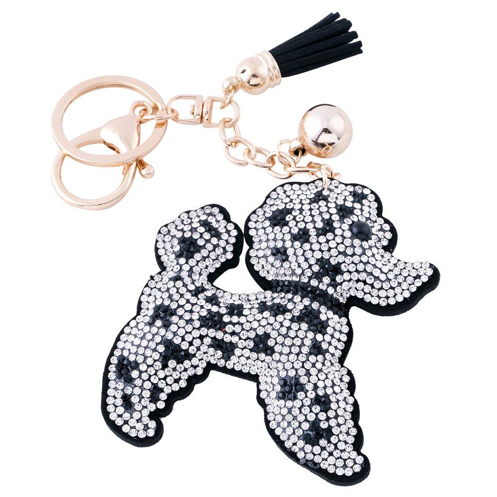 Soleebee Leather Keychain Crystal Car Key Chain Bag Charm with Tassels