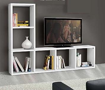 MONTEFIORE DESIGN Mobile Libreria Con Porta Tv In Legno Bianco Da ...
