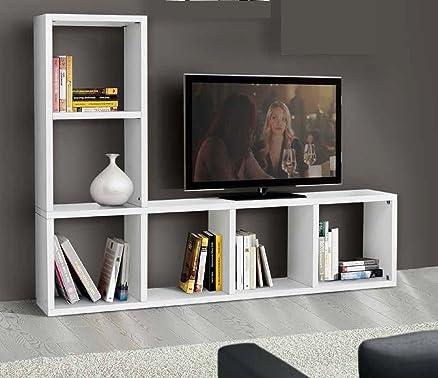 Montefioredesign - Mobile Libreria Con Porta Tv In Legno Bianco Da ...