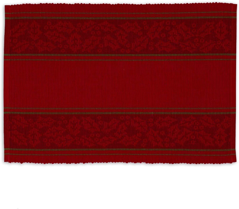 Set of 4 Design Imports DII Reversible Apple Embellished Placemat