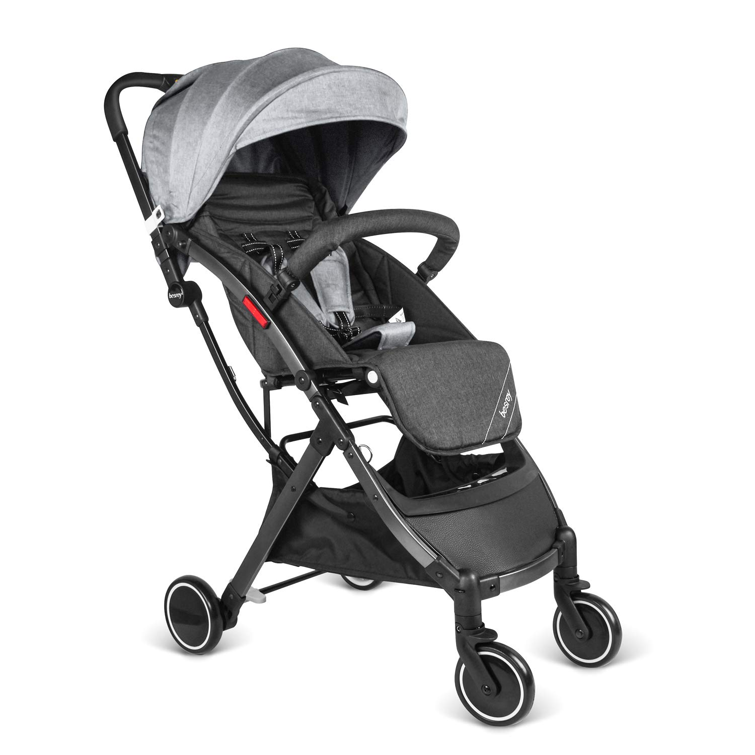 besrey Baby Lightweight Stroller Kids Pushchair with Pull Rod Easy get on Airplane Cabin - Gray