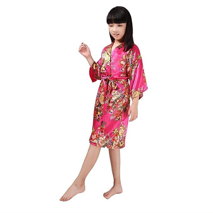 Bata de Bano Pijamas de Seda para Ninas Suave Ropa de Dormir Bata de Casa Albornoz Kimono Bridesmaid Robes: Amazon.es: Ropa y accesorios
