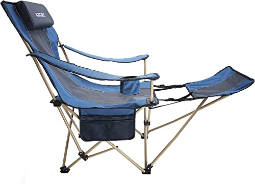 KHORE Camping Folding Portable Recliner Chair with Adjustable and Removabel Footrest