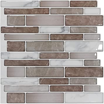 Art3d 10 Sheets Premium Anti Mold Self Adhesive Kitchen Backsplash Tiles In Marble 12 X12 Amazon Co Uk Diy Tools