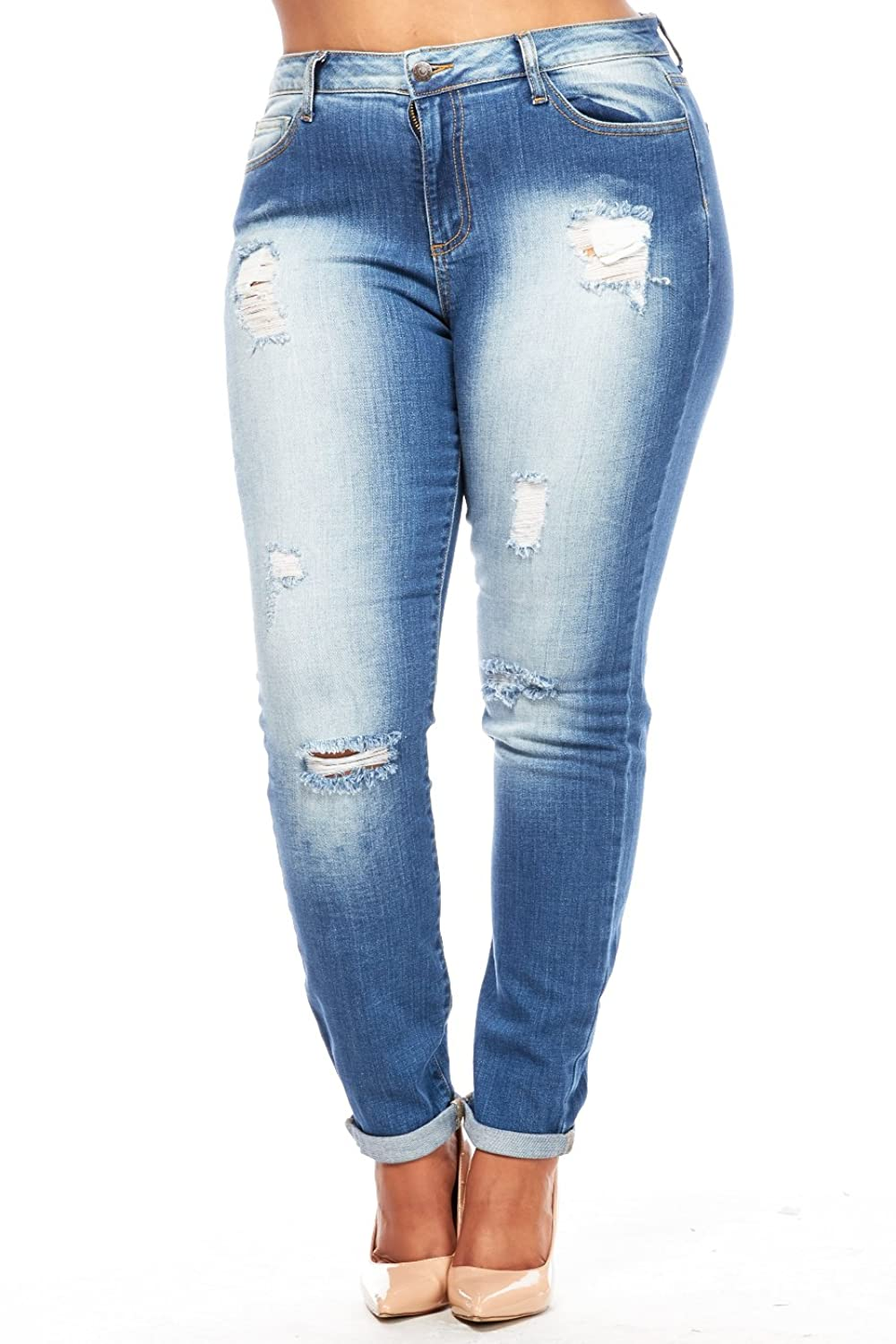 Womens Plus Scuffed Pocket Washed Skinny Jeans WV14459
