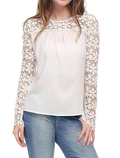 a887d5a38b Allegra K Women's Lace Panel Semi Sheer Longe Sleeve Chiffon Top Blouse