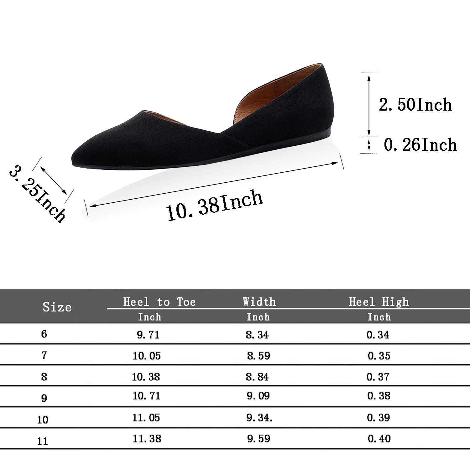 AOMO LOVE Womens Shoes Faux Suede Casual Light Pointed Toe Ballet Slip On Comfort Flats Shoes