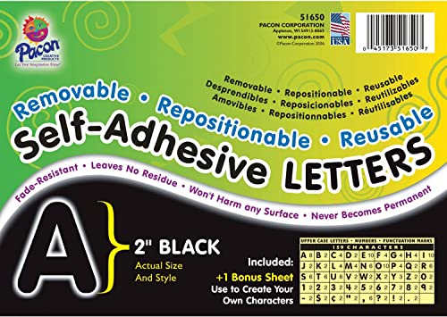 Pacon Letters 2-Inch Black-12 0051650