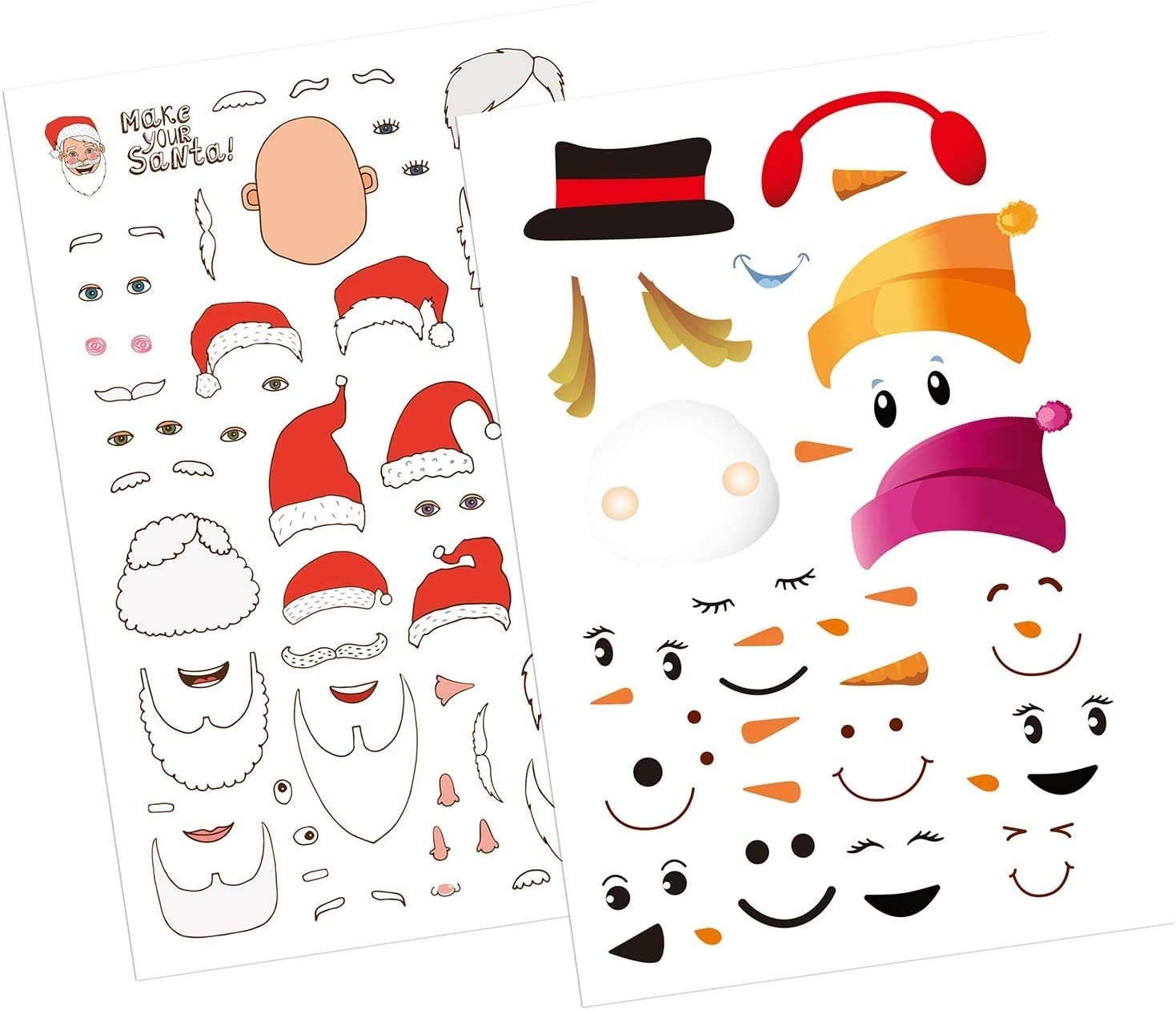 20 Sheets Christmas Children Game Sticker Christmas Themed/Craft Project Snowman Head and Santa Claus Head Stickers for Christmas Party Favors