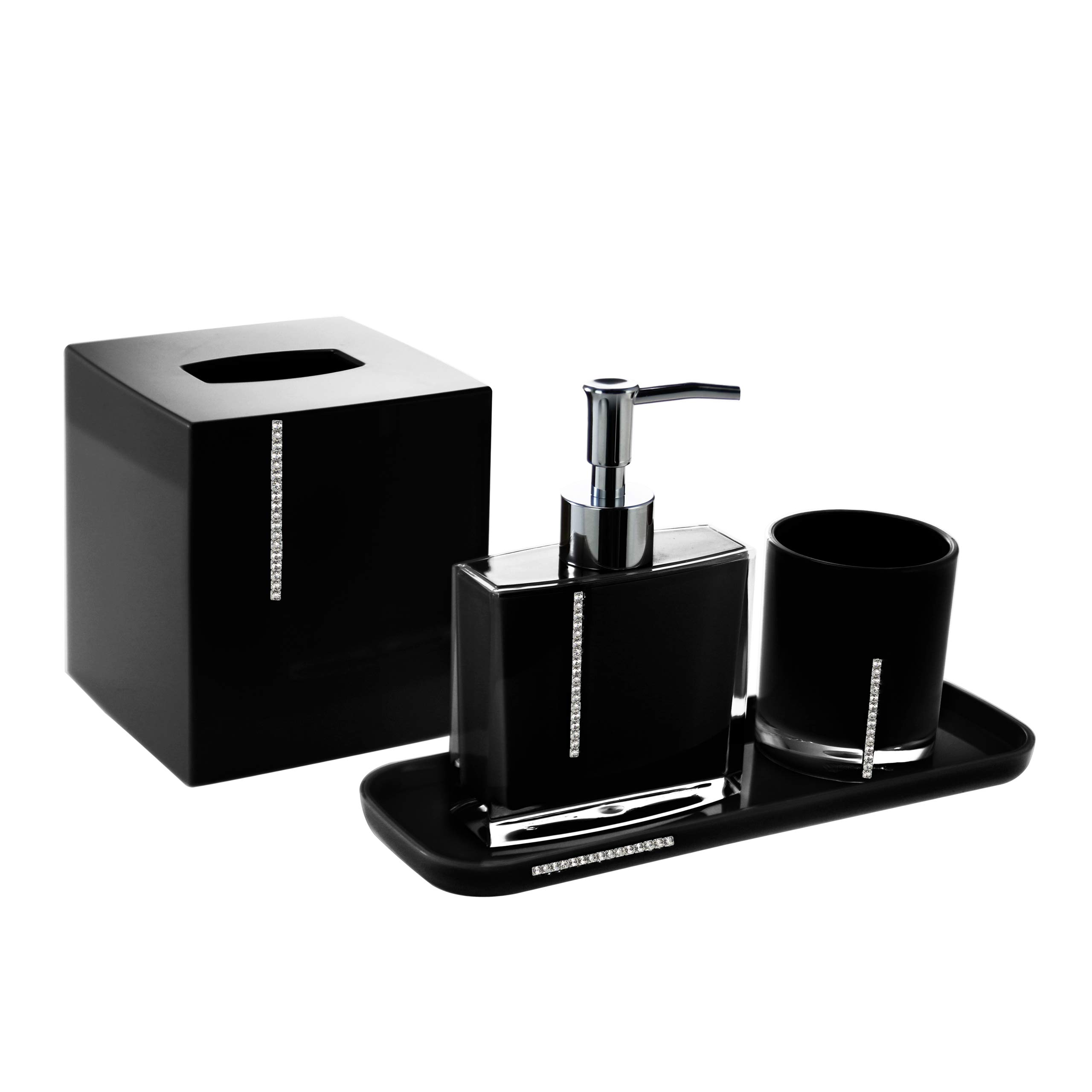 Decozen Set of 4 Pcs Bathroom Accessories Set in Crystal Black Decoration Bath Accessories Set with Tumbler Lotion Dispenser Square Tray Tissue Box Bathroom Decor Accessory Set