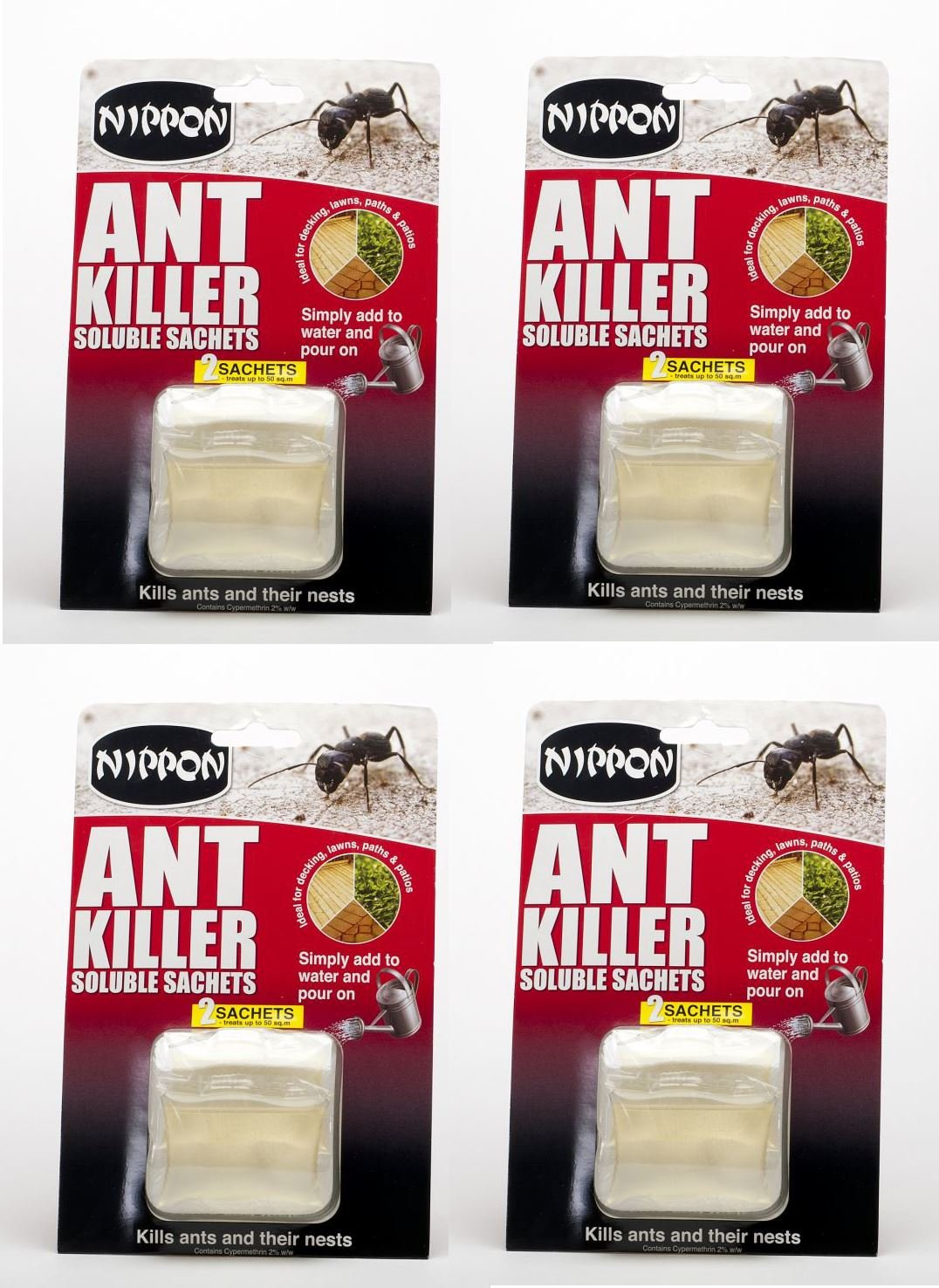 4 x Vitax Nippon Ant Insect Killer Soluble Sachets 2 Sachets X 25grams