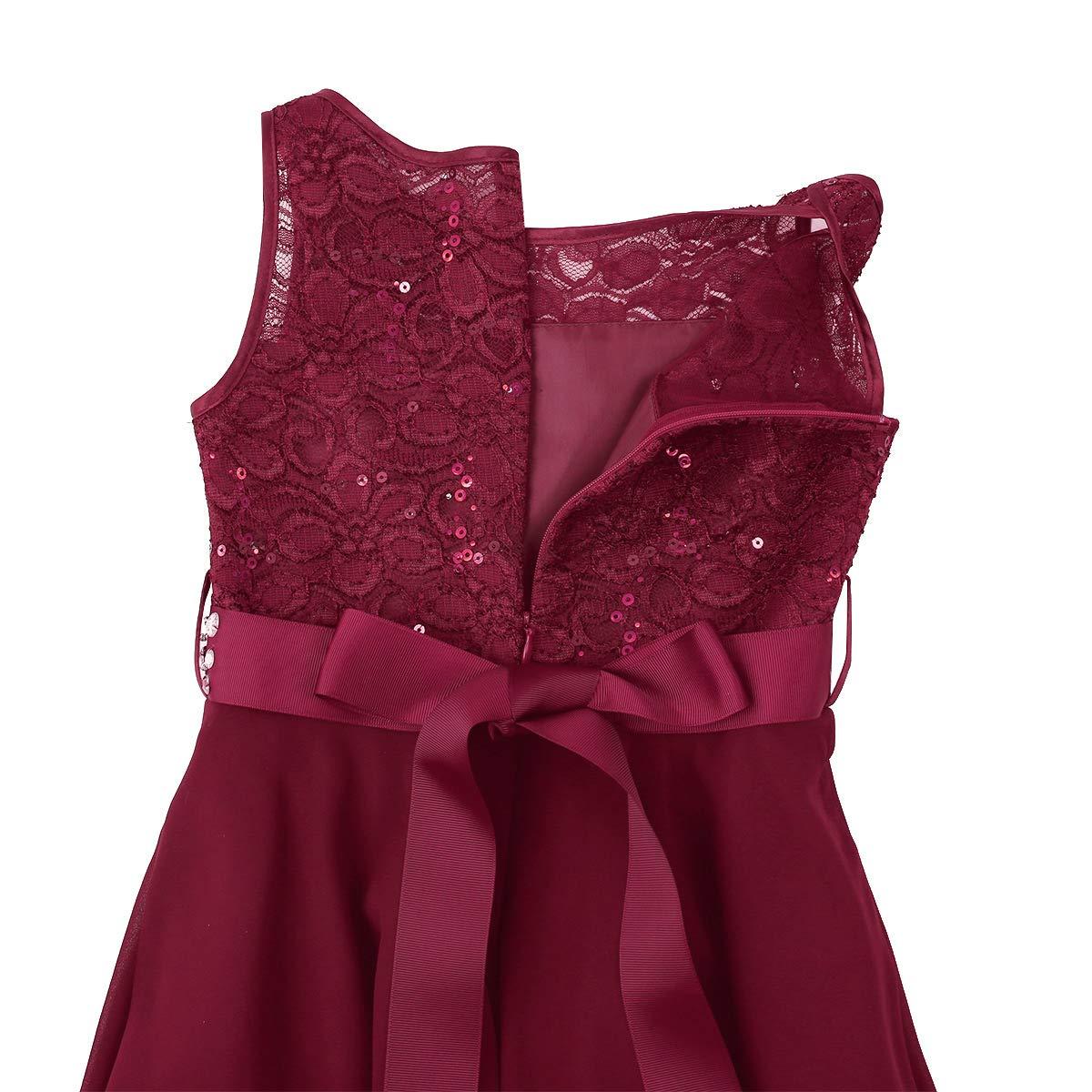CHICTRY Kids Girls Sparkle Belt Sequin Lace Flower Girl Bridesmaid Wedding Party Dresses