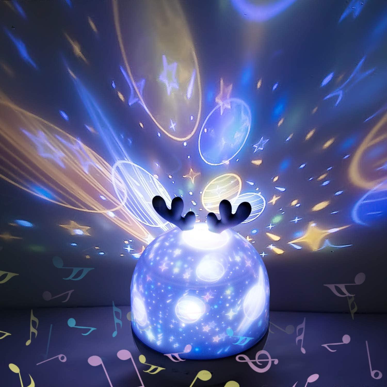 Hepside Proyector Estrellas, 360°Rotación Proyector Estrellas Bebe, 7 Modos Lámpara Proyector Infantil Luz Nocturna con Rotación y Música, Bebé Regalo Fiesta, Día de los Reyes, Navidad, Halloween