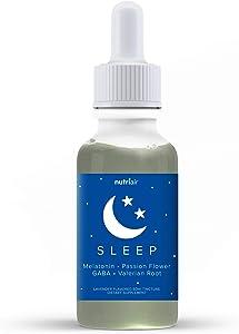 Nutriair Natural Sleep Aid Herbal Tincture - Lavender Flavored Liquid Melatonin 5mg - Naturally Calm Wellness Formula Valerian Root Drops, Lemon Balm, GABA, and L-Theanine (60 ml)