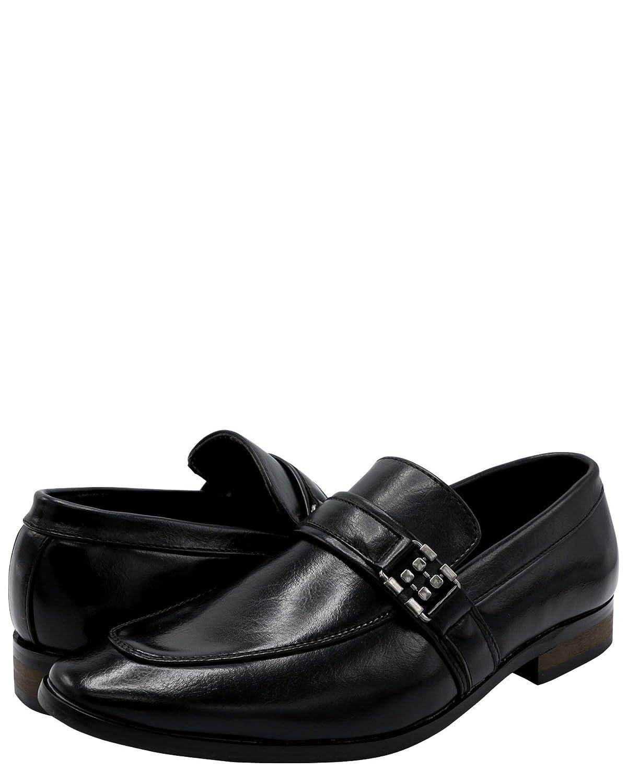 Faranzi Mens Loafer Strap Shoe,Black,12