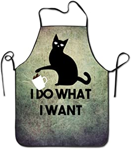 Manygoyo Funny Apron Chef Kitchen Cooking Apron Bib I Do What I Want Cat Animal Home Durable