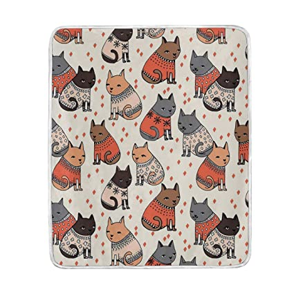 98657e8ad Amazon.com  Cute Cats Sweater Throw Blanket Soft Warm Cozy Bed Couch ...