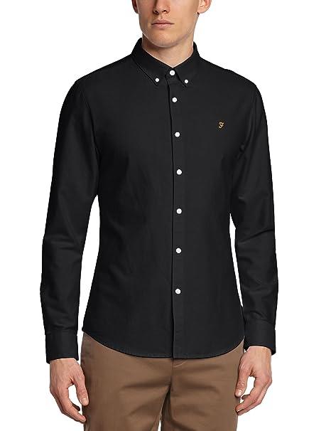 Farah Vintage Brewer - Camisa casual, con manga larga, con cuello con botones para hombre, Azul, X-Large Perricone MD