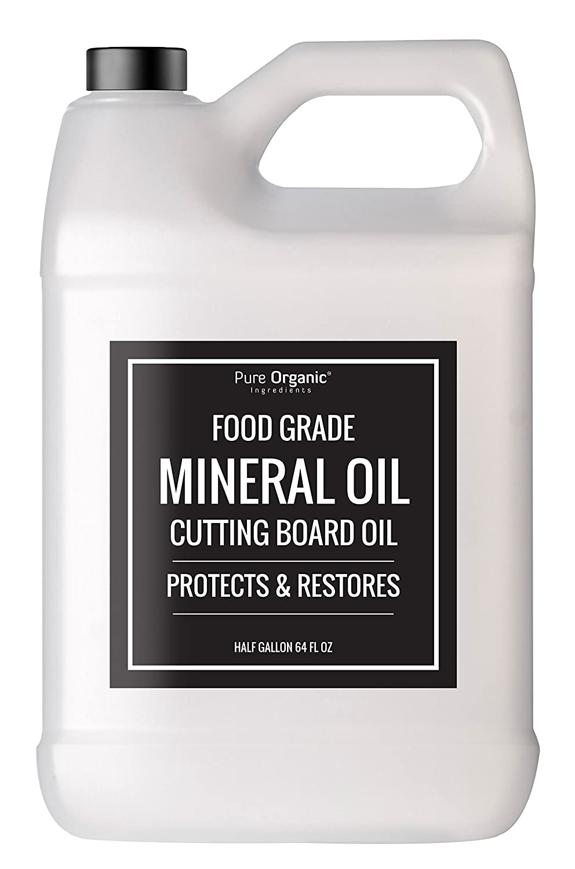 Pure Organic Ingredients Mineral Oil, Food Grade, USP Grade, For Cutting Boards, Butcher Blocks, Countertops, Wood Utensils Half Gallon (64 oz (1/2 Gallon))