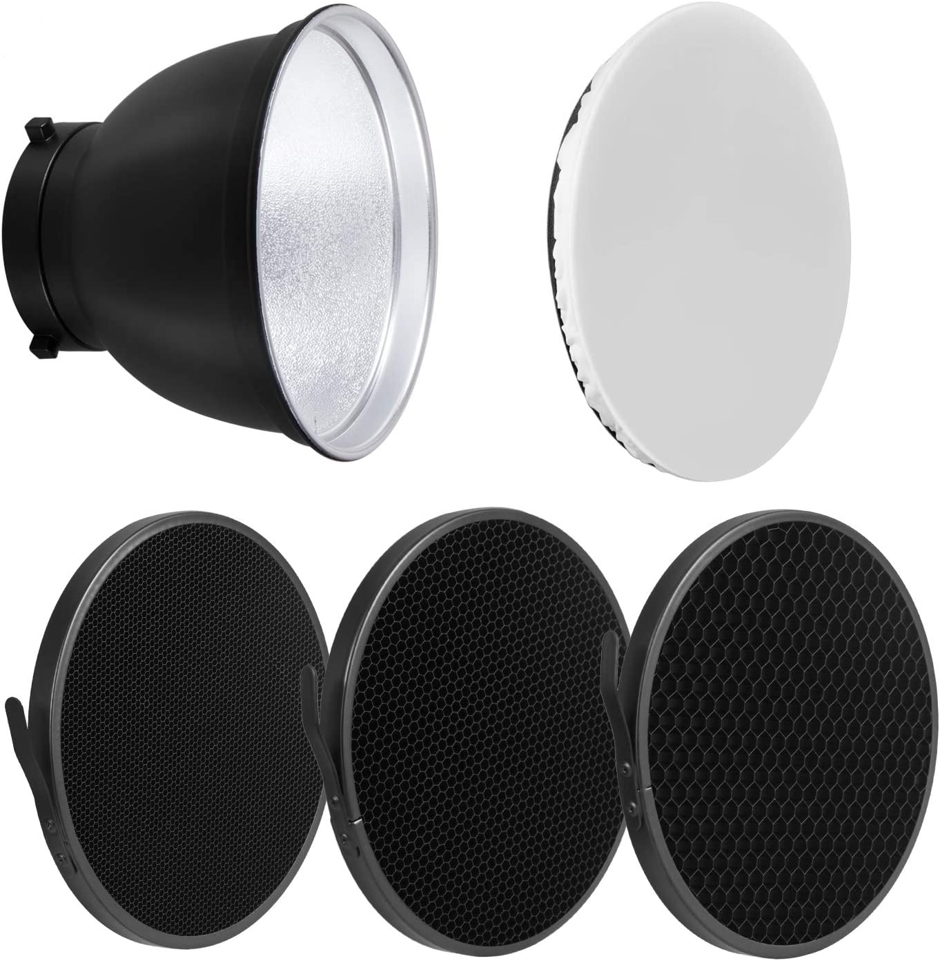 Soonpho 7 Standard Reflector Diffuser Lamp Shade Dish with 20/° //40/°// 60/° Degree Honeycomb Grid White Soft Cloth for Bowens Mount Studio Strobe Flash Light Speedlite