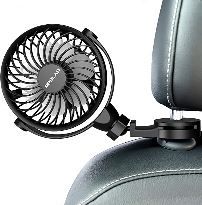 Car Fan With Clips, USB Car Fan for Back Seat, 360° Rotation, 4 Speeds, Powerful, 5V Cooling Fan, Portable Personal Vehicle Fan for Driver Passenger Baby Pet