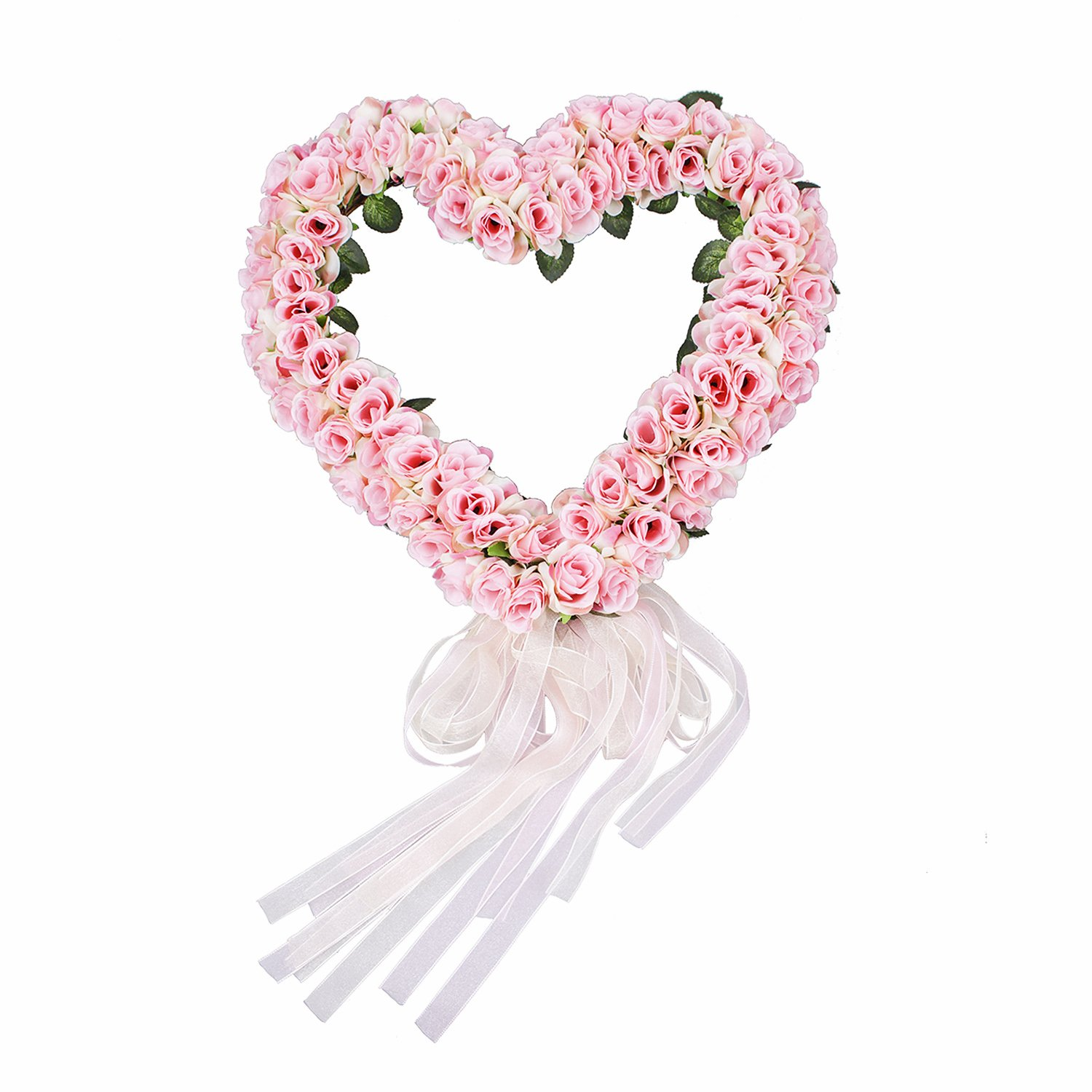 FAVOWREATH 2018 Love Series FAVO-W05 Handmade 14 inch Pink Rose Flowers Heart Wreath Fall Grapevine Wreath For Summer Front Door/Wall/Fireplace Wedding Floral Hanger Marry Anniversary Home Decor