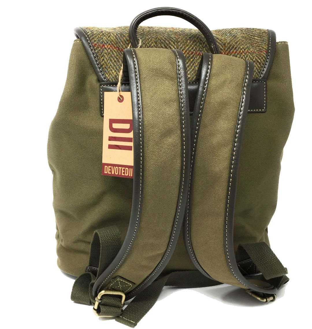 DVII Genuine Harris Tweed /& Green Canvas Rucksack//Backpack