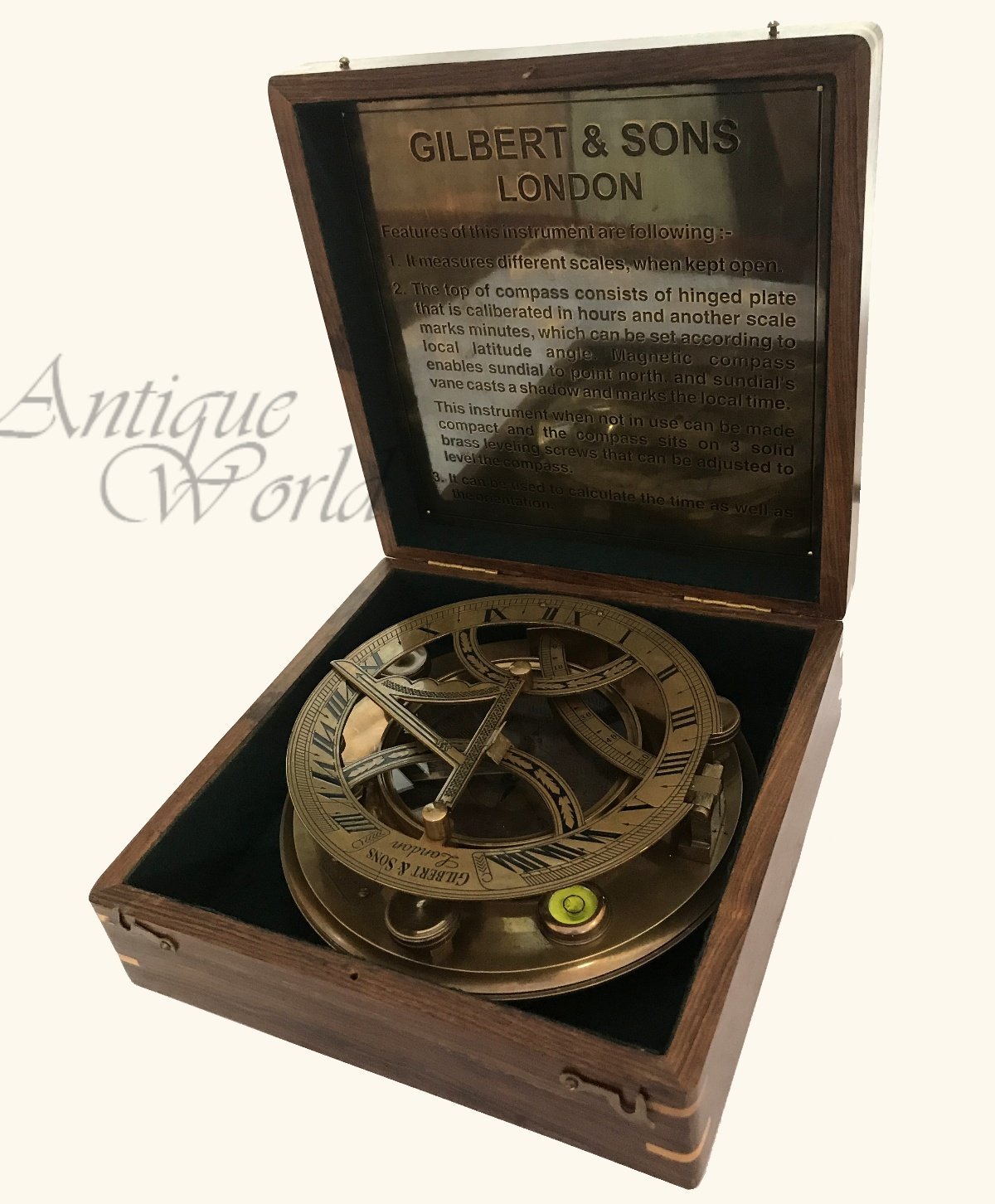Antiques World Nautical Old Maritime Vintage Brown Antique Brass Collectible Authentic Gilbert & Son London Sunclock Sundial Compass Along With A Box AWUSASC 097