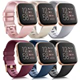 6 Pack Sport Bands Compatible with Fitbit Versa 2 / Fitbit Versa/Versa Lite/Versa SE, Classic Soft Silicone Replacement Wrist