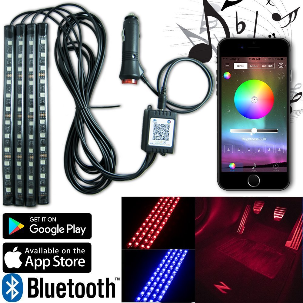 Car Led Strip Lights by Autokraze | 4 Piece Underdash Music Strips | RGB Interior Light Kit w Easy to Install App from Iphone or Android Devices | Durable Multi-Color Neon Glow Leds