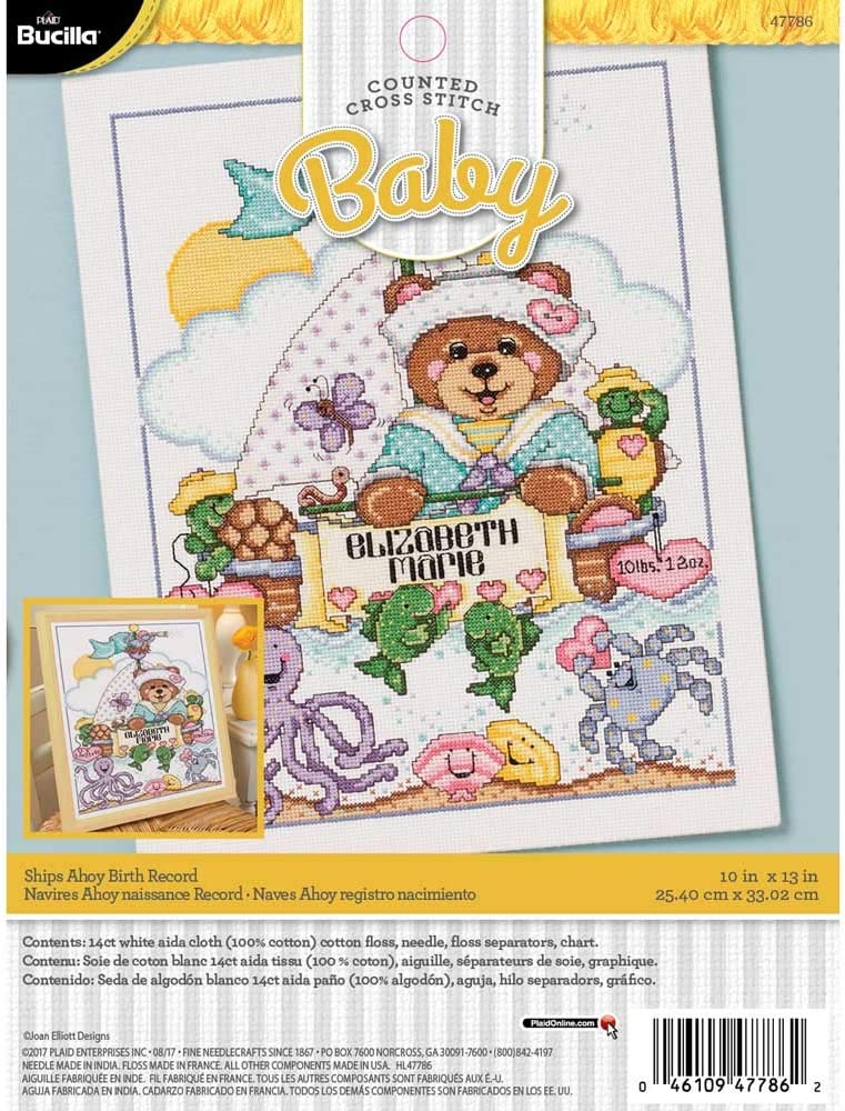 9 x 14 Bib Pair Bucilla 47787 Ships Ahoy Stamped Cross-Stitch Kit