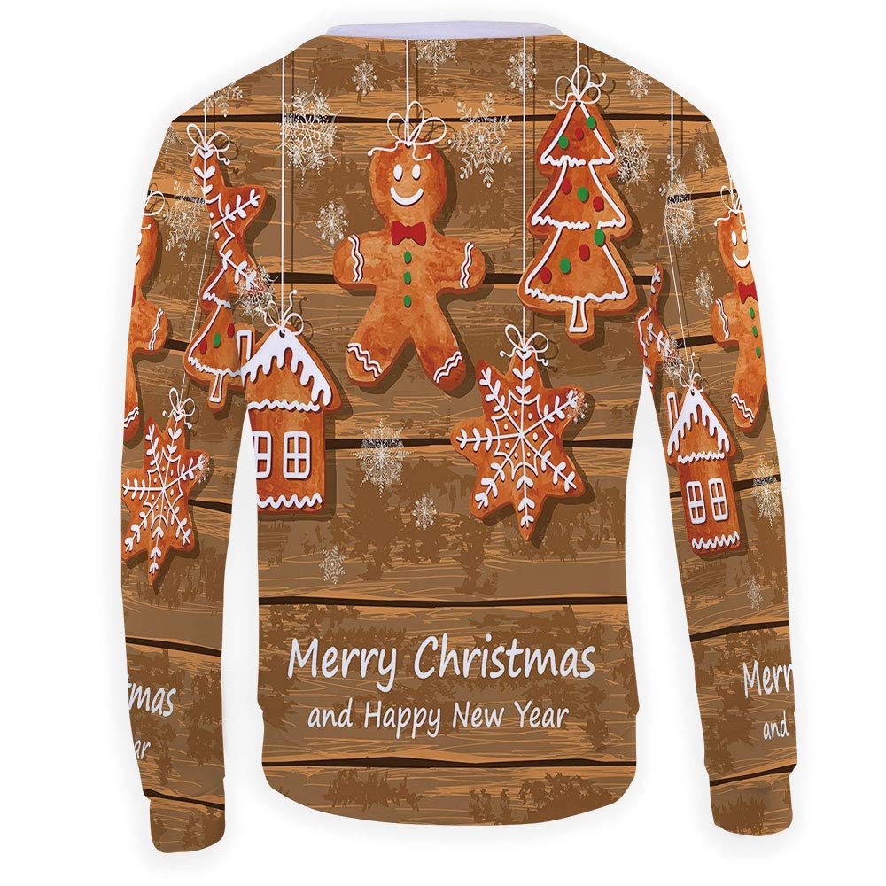 MOOCOM Mens Gingerbread Man Crewneck Sweatshirt-Unisex