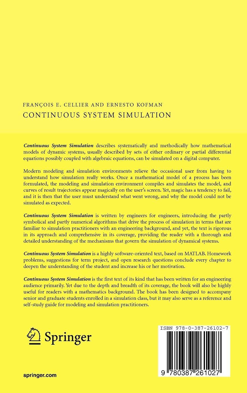Continuous System Simulation: Amazon co uk: François E  Cellier
