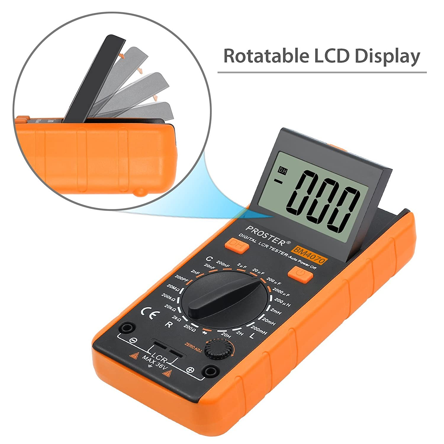 Proster LCR Meter LCD Capacitance Inductance Resistance Tester Measuring Meter Self-discharge With Overrange Display Proster Trading Limited